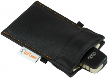anti-theft-bag closed, for keyless go key, debit cards, identity card, Real leather black