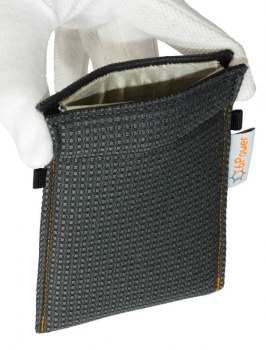 XL anti-theft-bag opened, for keyless go key, debit cards, identity card, anthracite patterned