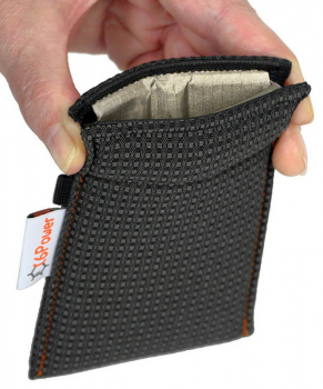 anti-theft-bag opened, for keyless go key, debit cards, identity card, anthracite patterned