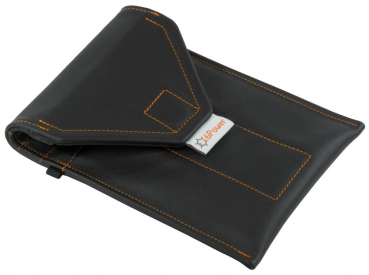 closed anti-spy & anti-theft-cell-phone-bag in large size genuine leather black