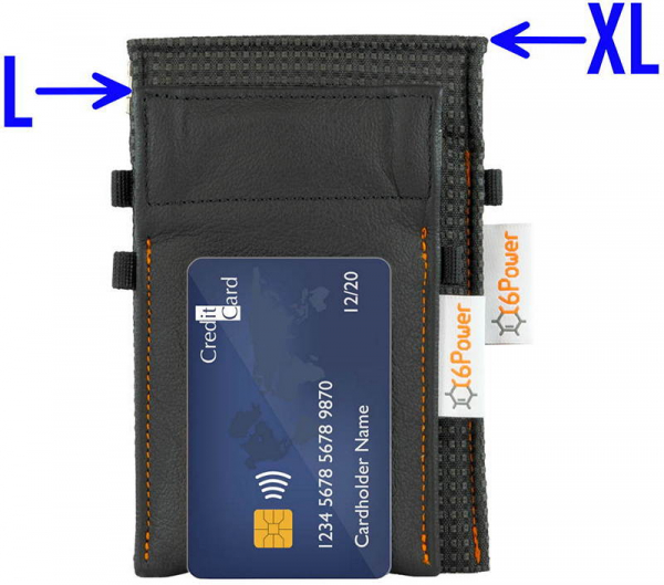 XL anti-theft-bags to compare their sizes, for keyless go key, debit cards, identity card, colour: anthrazit