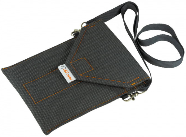 open anti-spy & anti-theft-cell-phone-bag for smartphone, keyless go key, debit cards, passport, identity card, anthracite patterned