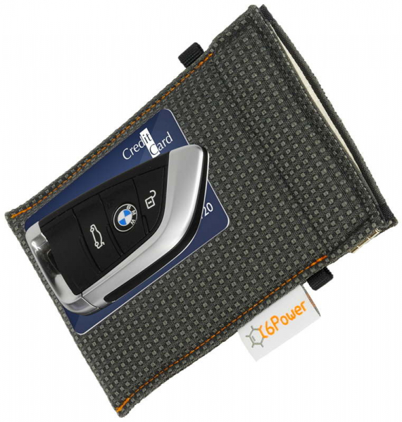 XL anti-theft-bag closed, for keyless go key, debit cards, identity card, anthracite patterned